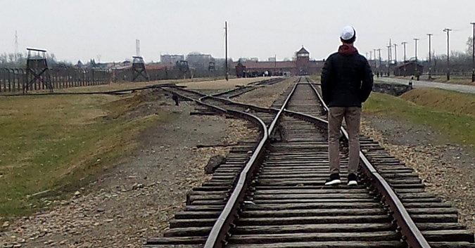 Ben Golub (14) leaving Birkenau.