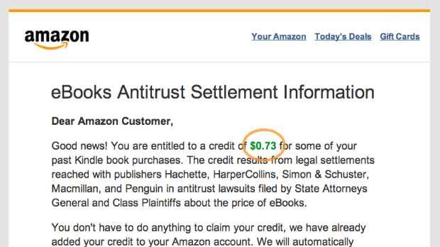 Amazon E-Book Settlement