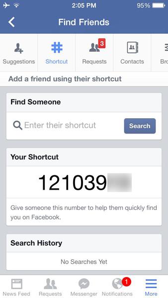 Facebook Shortcut Number
