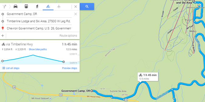 Google Maps' Bike Elevation