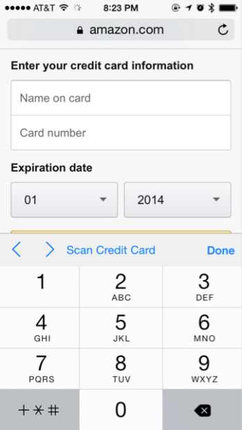 Credit Card on iOS 8