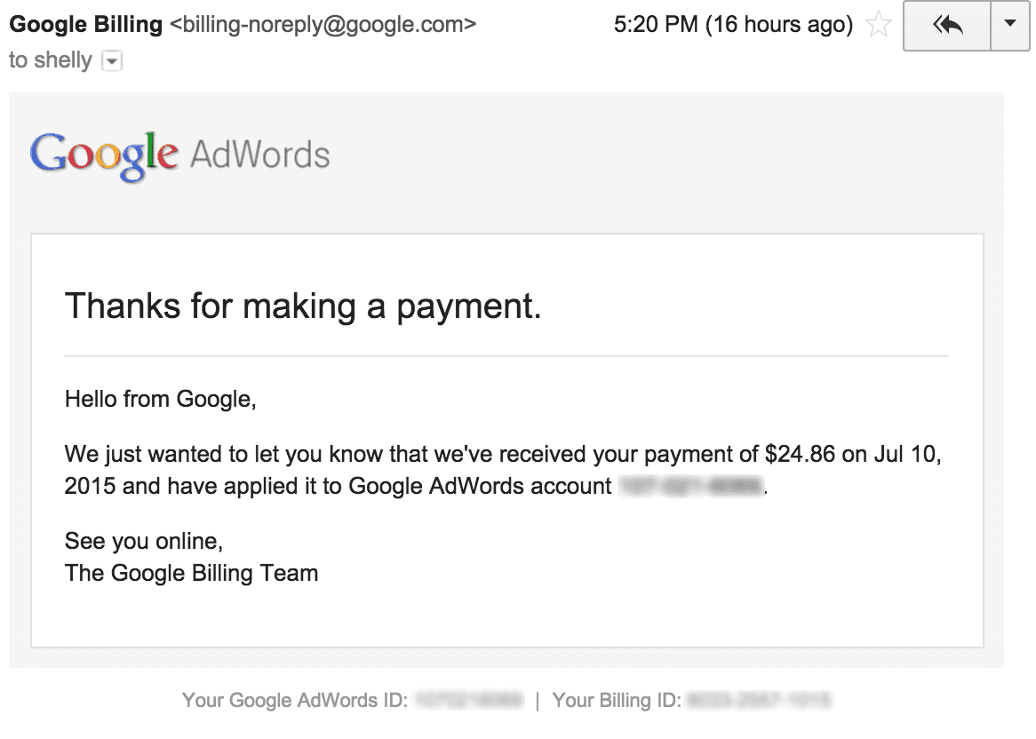 Google AdWords Payment Advice