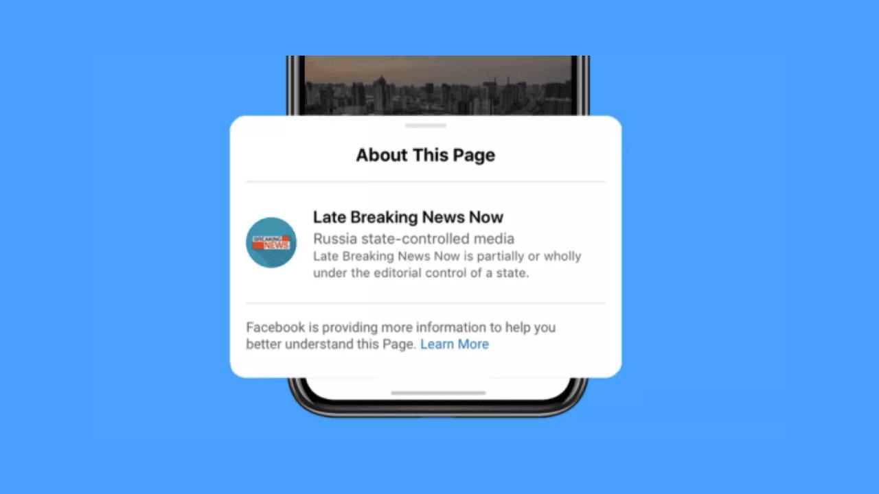Facebook state-owned media warning label